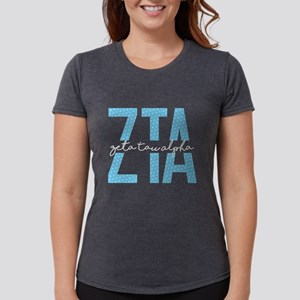 Zeta Tau Alpha Blue Polka Dot Womens Tri-blend T-S