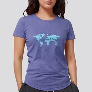 Wanderlust, blue world map T-Shirt