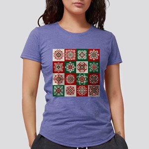 Knitted Christmas Pattern Womens Tri-blend T-Shirt