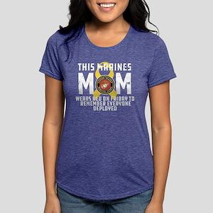 USMC Mom Wears RED Womens Tri-blend T-Shirt
