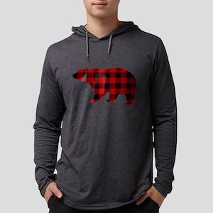 lumberjack buffalo plaid Bear Long Sleeve T-Shirt