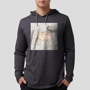 Hipster Pug Mens Hooded Shirt