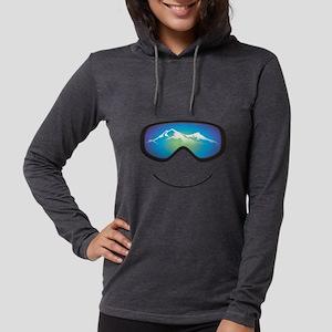 Happy Skier Womens Hooded Long Sleeve T-Shirt