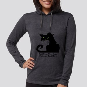 Angry Pissed Off Black Cat Womens Hooded Shirt