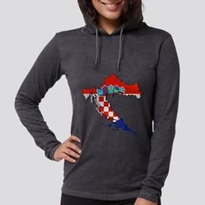 Flag Map of Croatia Womens Hooded Shirt