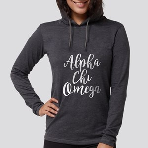 Alpha Chi Omega Script Womens Hooded Shirt