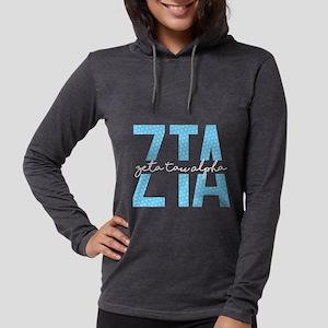 Zeta Tau Alpha Blue Polka Dot Womens Hooded T-Shir