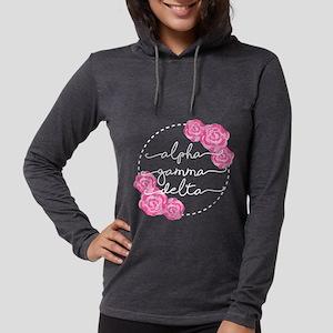 alpha gamma delta floral Womens Hooded T-Shirts