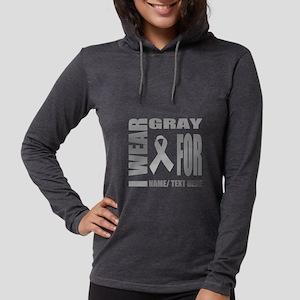 Gray Awareness Ribbon Customiz Womens Hooded Shirt