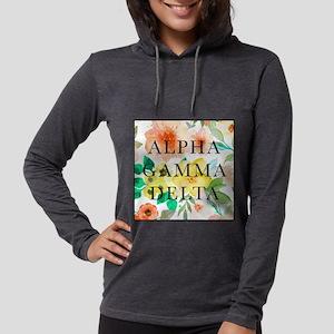 Alpha Gamma Delta Floral Womens Hooded Shirt