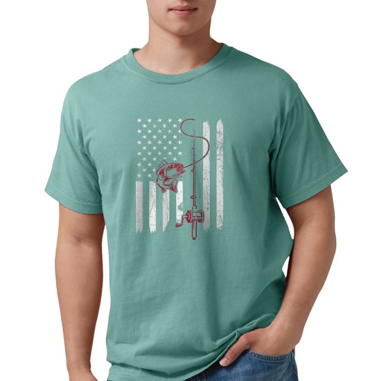 Vintage Fishing with American Flag Bass Fish t-shi