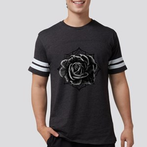 Black Rose On Gothic Mens Football Shirt