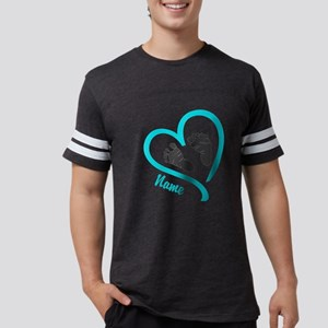 Baby Heart Blue Personalized Mens Football Shirt