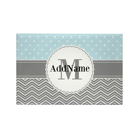 Blue Gray Dots Chevron Personalized