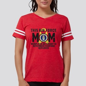 USAF Mom Wears RED Womens Football Shirt