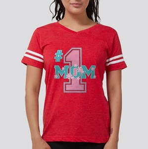 #1 Mom Pink Womens Football Shirt T-Shirt