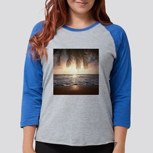 Tropical Beach Womens Baseball Tee