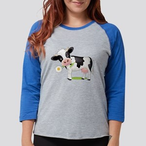 Flower Power Cow Womens Baseball Tee