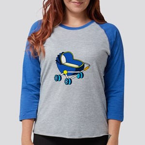 blue themed baby carriage graphic Womens Baseball