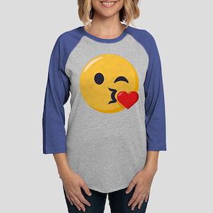 Kissing Emoji Womens Baseball Tee
