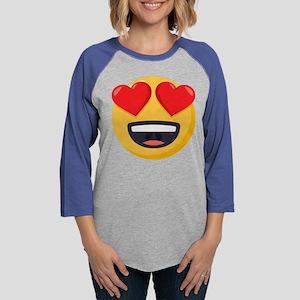 Heart Eyes Emoji Womens Baseball Tee