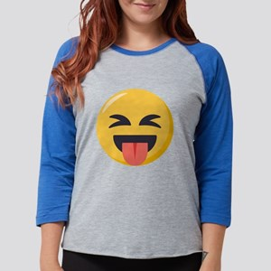 Face with stuck out tongue-Cl Womens Baseball Tee