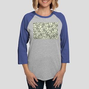 100 Dollar Bill Money Pattern Womens Baseball Tee