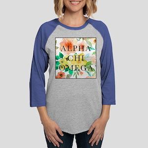 Alpha Chi Omega Floral Square Womens Baseball Tee