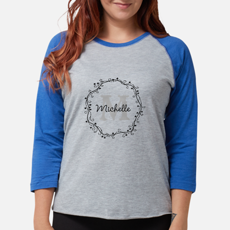 Personalized vintage monogram Womens Baseball Tee