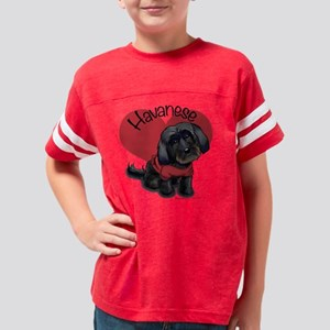 Lovable black Havanese Youth Football Shirt