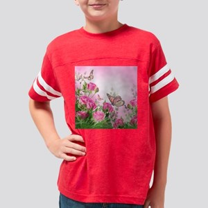 Butterfly Flowers Youth Football Shirt
