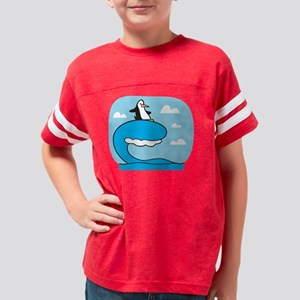 penguin surfing Youth Football Shirt