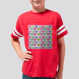 Gingham Hearts Pastel Pattern Youth Football Shirt
