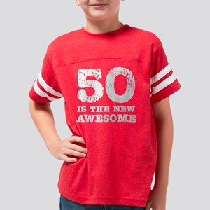 50 awesome_white Youth Football Shirt
