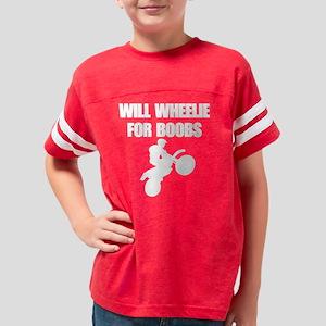will wheelie for boobs white Youth Football Shirt