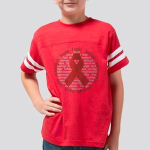 Red Encouragement Ribbon Youth Football Shirt