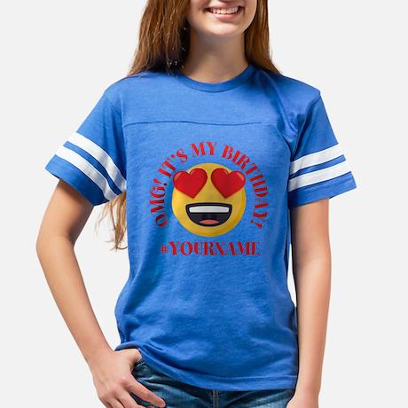 Emoji OMG Heart Birthday Personalized Youth Football Shirt