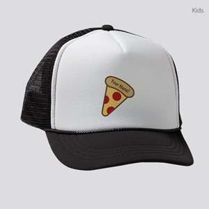 YOUR NAME Cute Pizza Kids Trucker hat