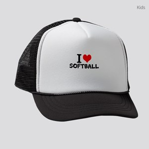 I Love Softball Kids Trucker hat