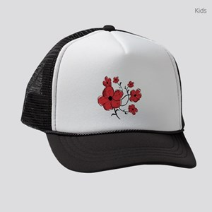 Modern Red and Black Floral Desig Kids Trucker hat