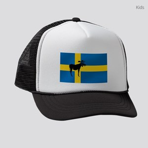 Sweden Elk / Moose Flag Kids Trucker hat