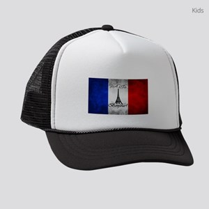 PARIS FRANCE FLAG EIFFEL TOWER Kids Trucker hat