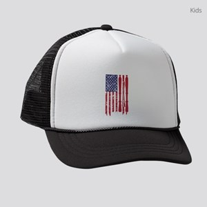 US flag with skis and ski poles a Kids Trucker hat