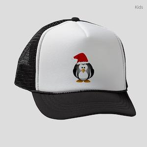 6491fb3f Christmas Penguin Kids Trucker Hats - CafePress