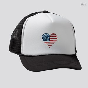 usa flag heart Kids Trucker hat
