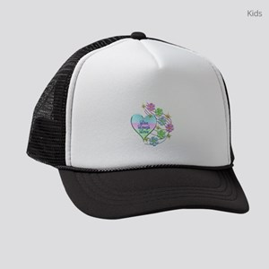 Live Laugh Love Flowing Flowers Kids Trucker hat