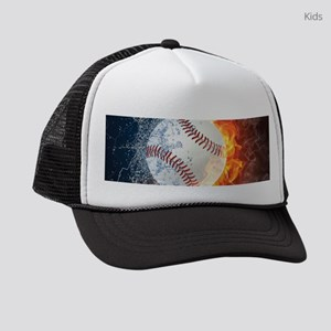 Baseball Ball Flames Splash Kids Trucker hat
