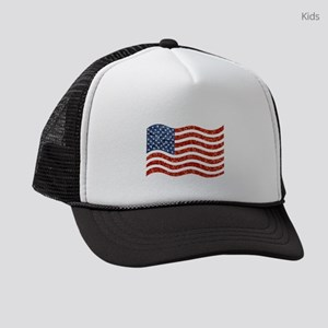 sequin american flag Kids Trucker hat