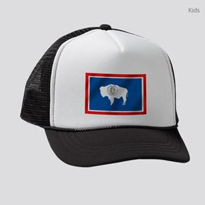 Wyoming Flag Kids Trucker Hats - CafePress
