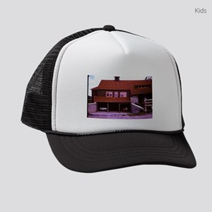 old picture of house with open ga Kids Trucker hat